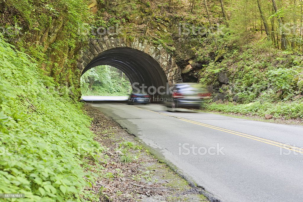 Cars entering tunnel in the Smoky Mountains royalty-free stock photo