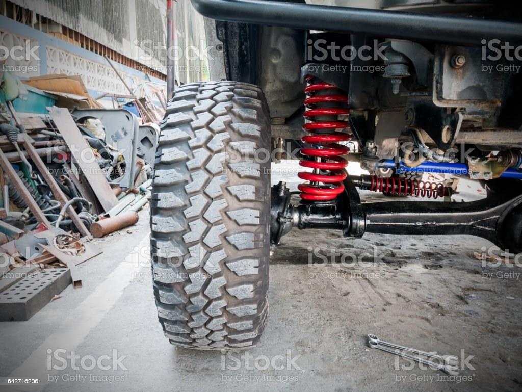 Cars front wheel and suspension stock photo