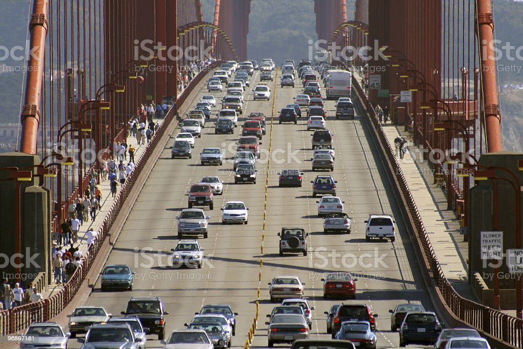 Cars going across Golden Gate Bridge in San Francisco royalty-free stock photo