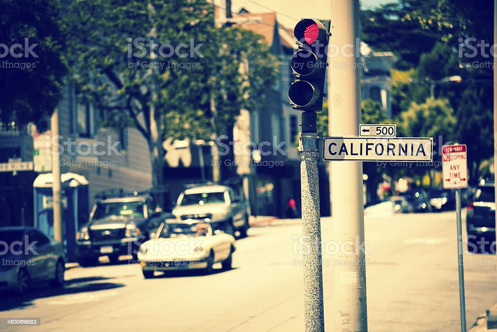 Cars in California Road of San Francisco, Vintage Style stock photo
