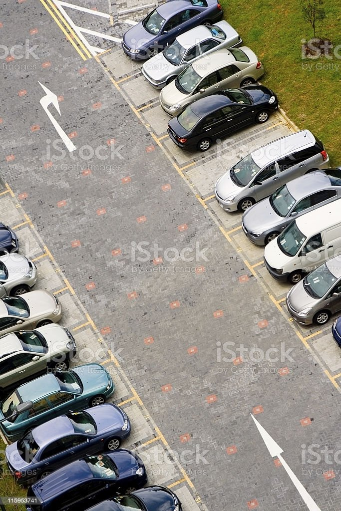 Cars in carpark royalty-free stock photo