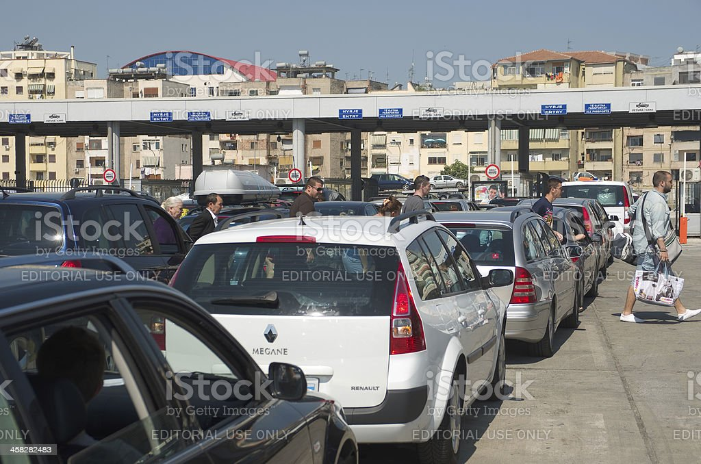 Cars In Columns To The Customs Port Of Durres royalty-free stock photo