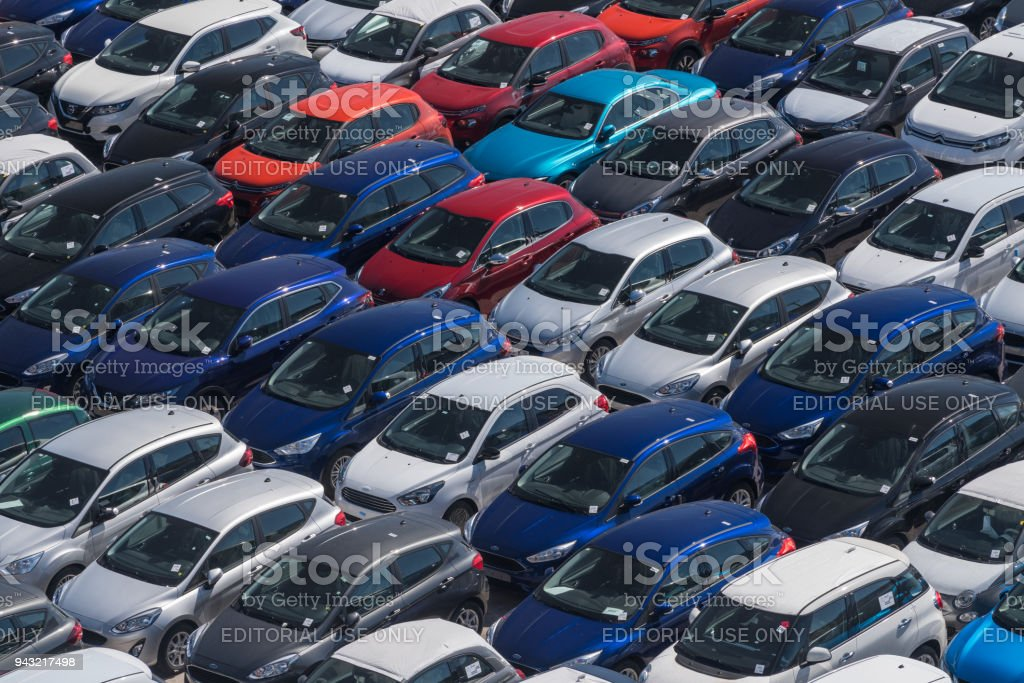 Cars in lot ready for export in Valencia harbor stock photo
