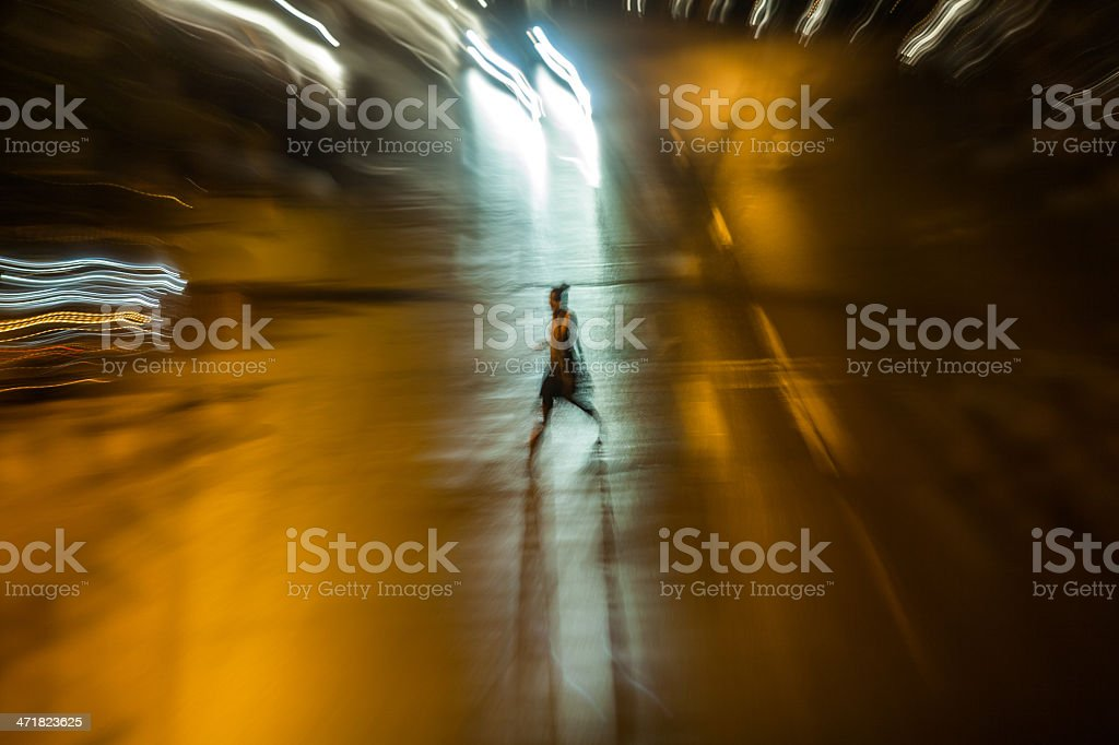 Cars in motion at night royalty-free stock photo