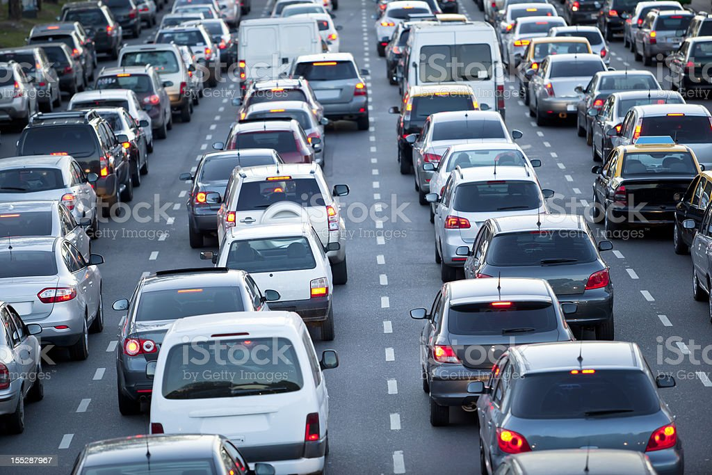 Cars in rush hour with traffic at dawn royalty-free stock photo