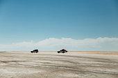 Cars in Salar de Uyuni salt flat