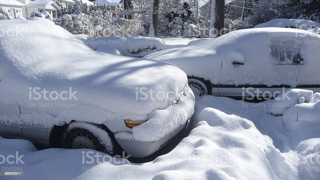 Cars in the snow royalty-free stock photo