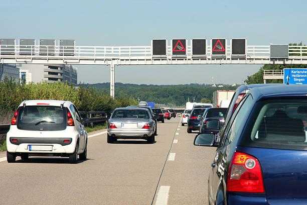 cars in traffic jam on highway, in Germany – Foto