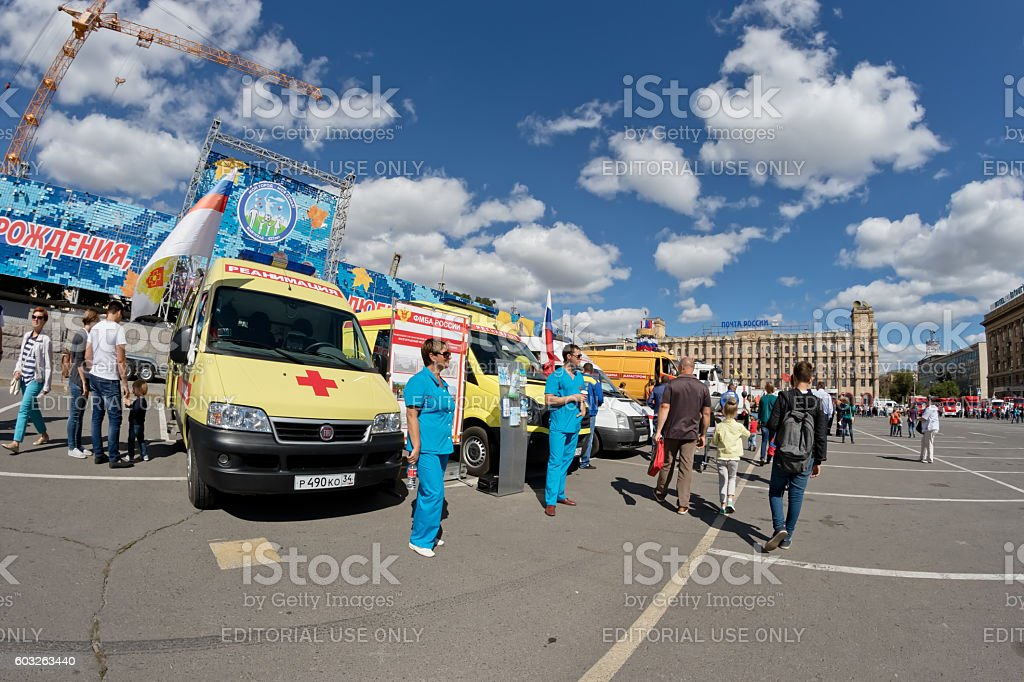 Cars intensive care medicine at the exhibition of special equipment stock photo