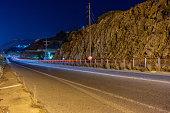 Cars light on bridge in Crete