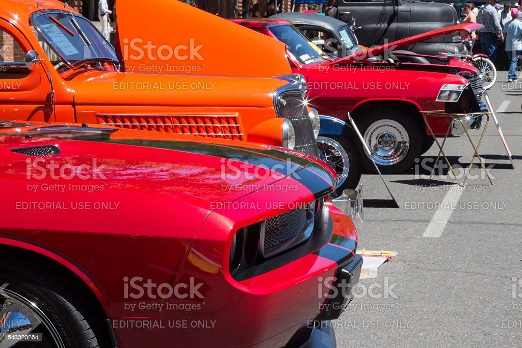 Aufgereihten Fahrzeuge in einem Auto zeigen Sie in Durango, Colorado – Foto