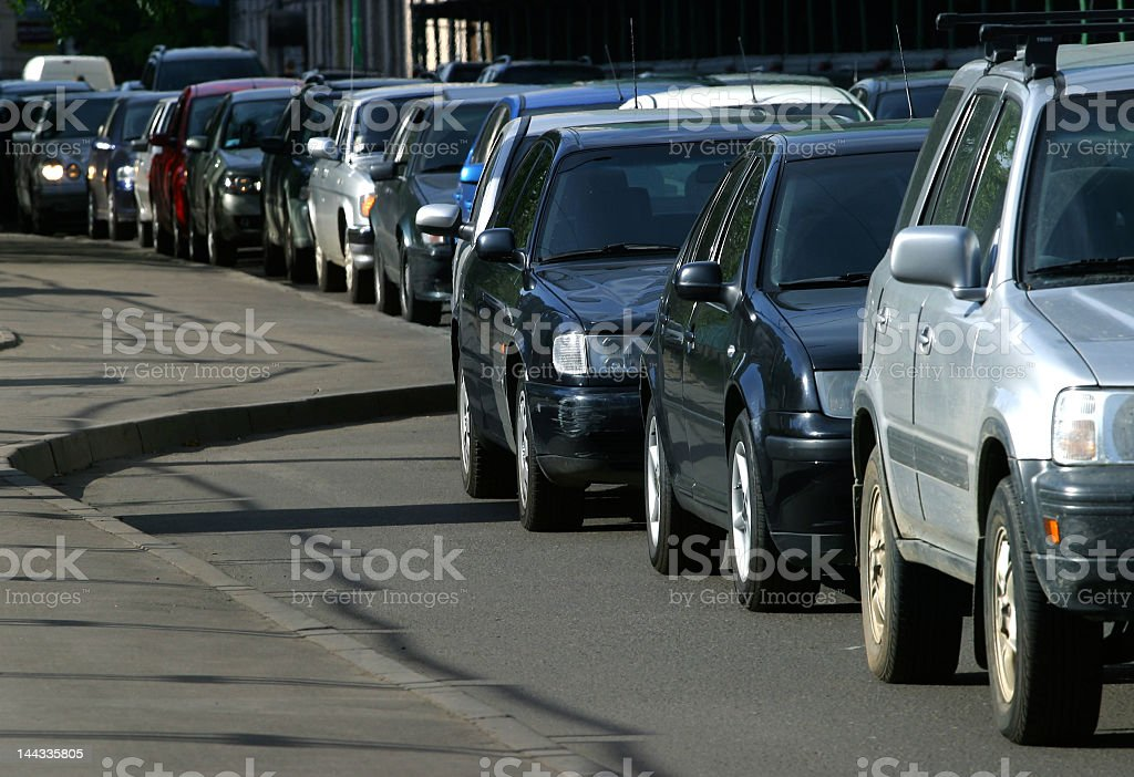 Cars lined up in back to back traffic royalty-free stock photo