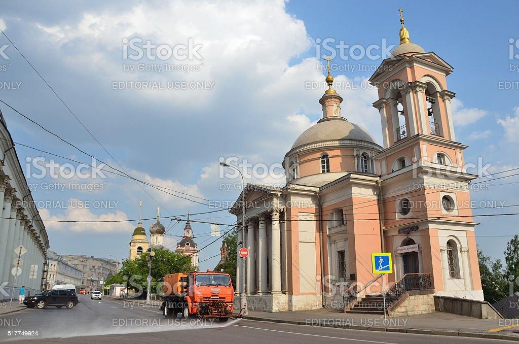Cars near the Church of St. Varvara. Street Varvarka. Moscow stock photo