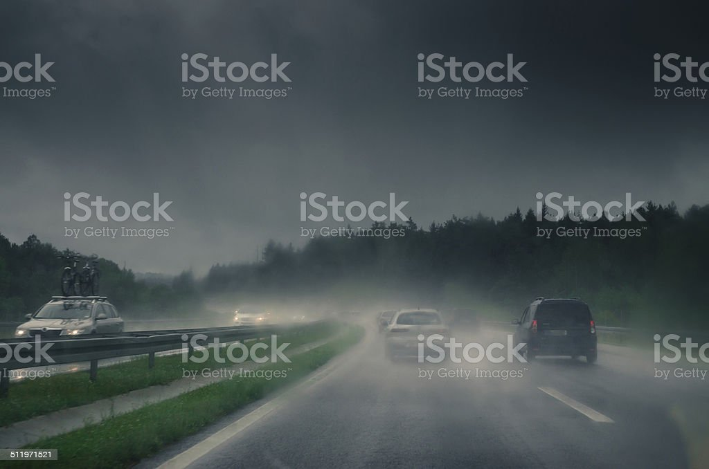 cars on a slippery road stock photo