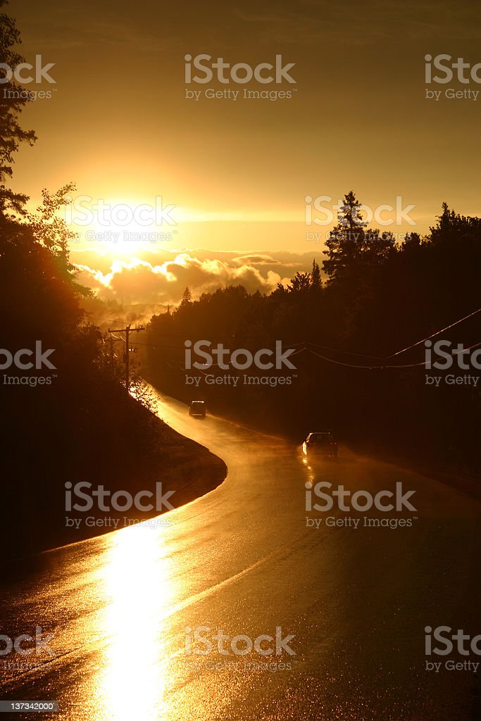 Cars on a Wet Road at Sunset royalty-free stock photo