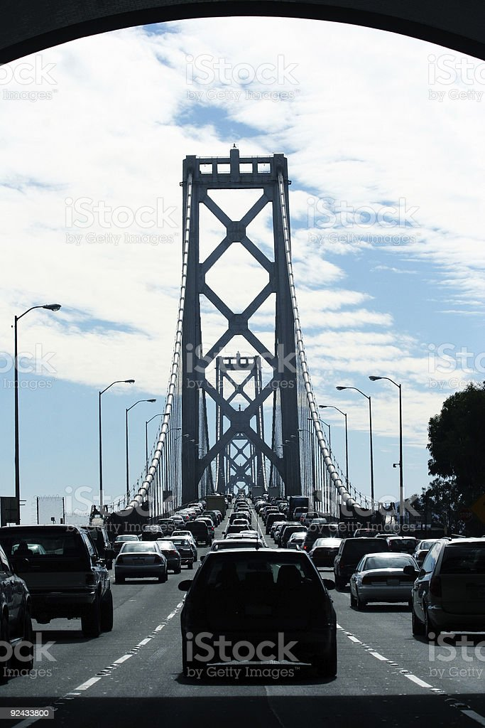 Cars on Bay Bridge royalty-free stock photo