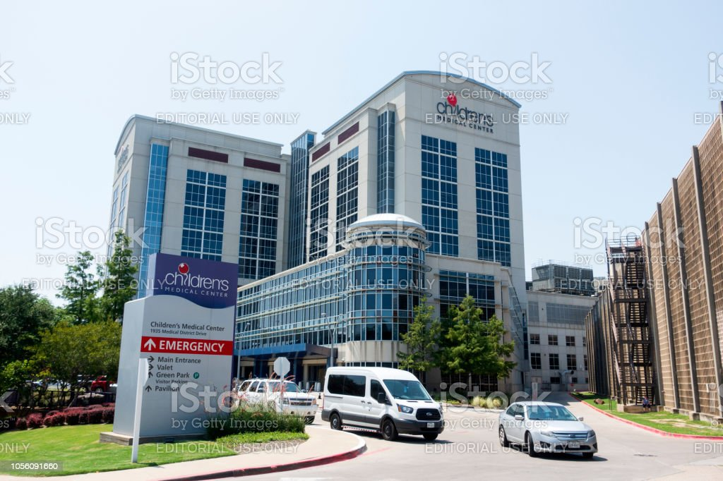 Cars on driveway at the entrance of Emergency building in Children's Medical Center stock photo