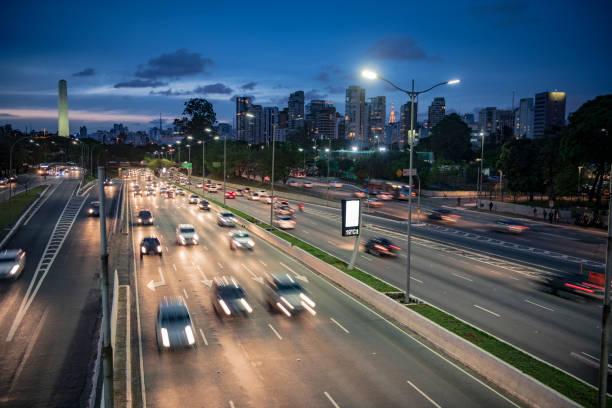 Cars on highway at night Sao Paulo Brazil stock photo