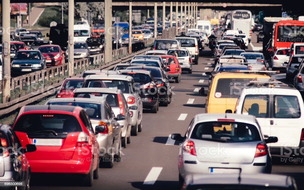 Cars on highway road traffic jam collapse - Royalty-free Accidents and Disasters Stock Photo