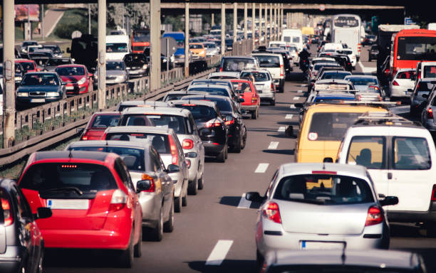 cars on highway road traffic jam collapse - traffic stock photos and pictures