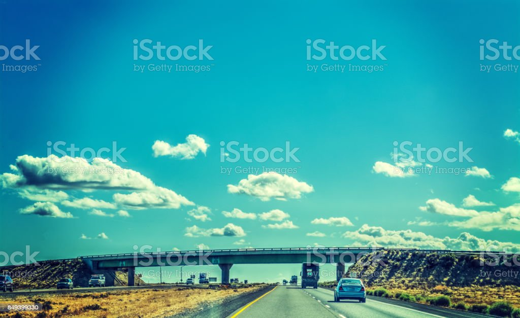 Cars on Interstate 5 southbound stock photo
