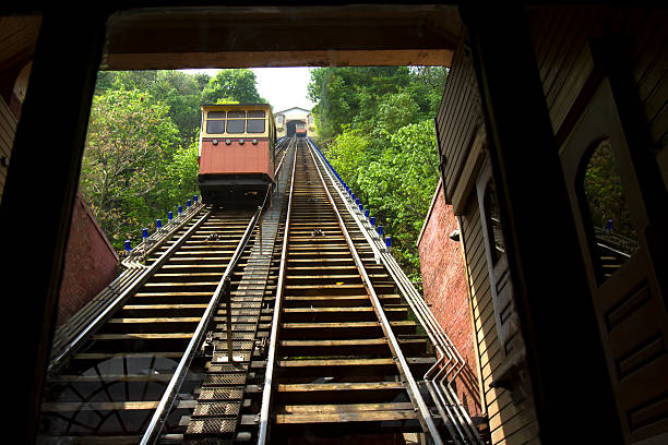 Cars on Monongahela Incline Cars on the historic Monongahela Incline from riverfront to Mt. Washington area of Pittsburgh. monongahela river stock pictures, royalty-free photos & images