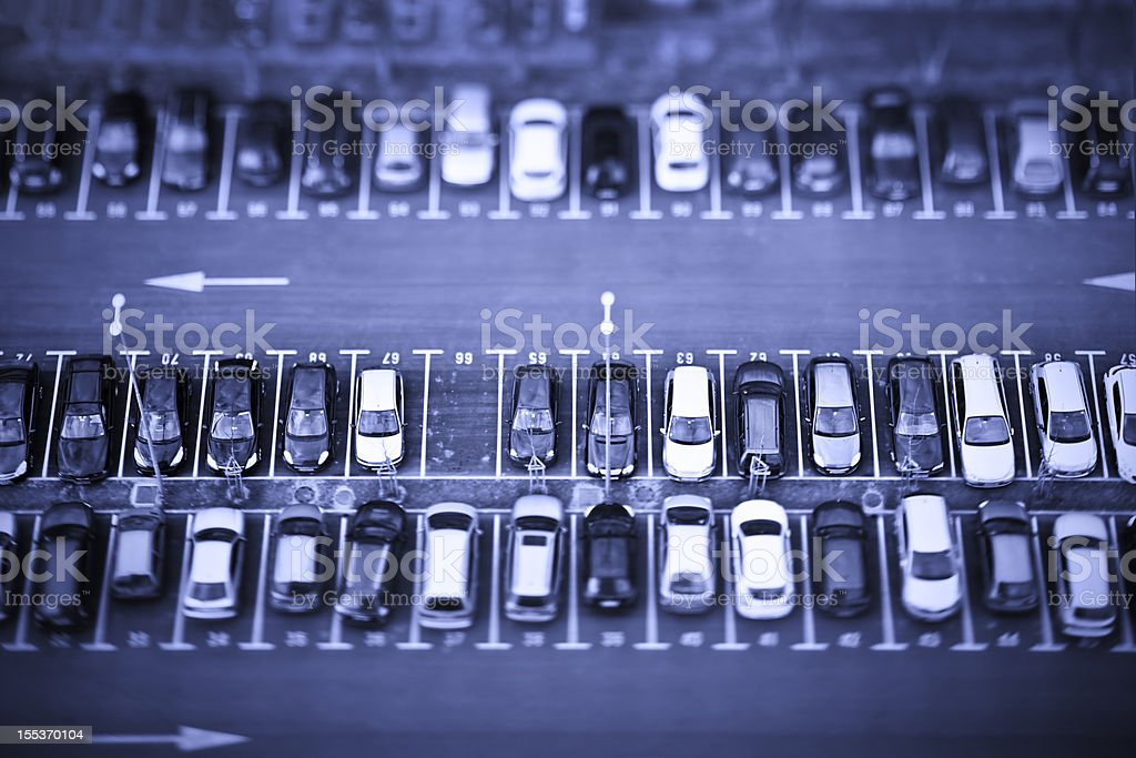 Cars on parking place from above royalty-free stock photo