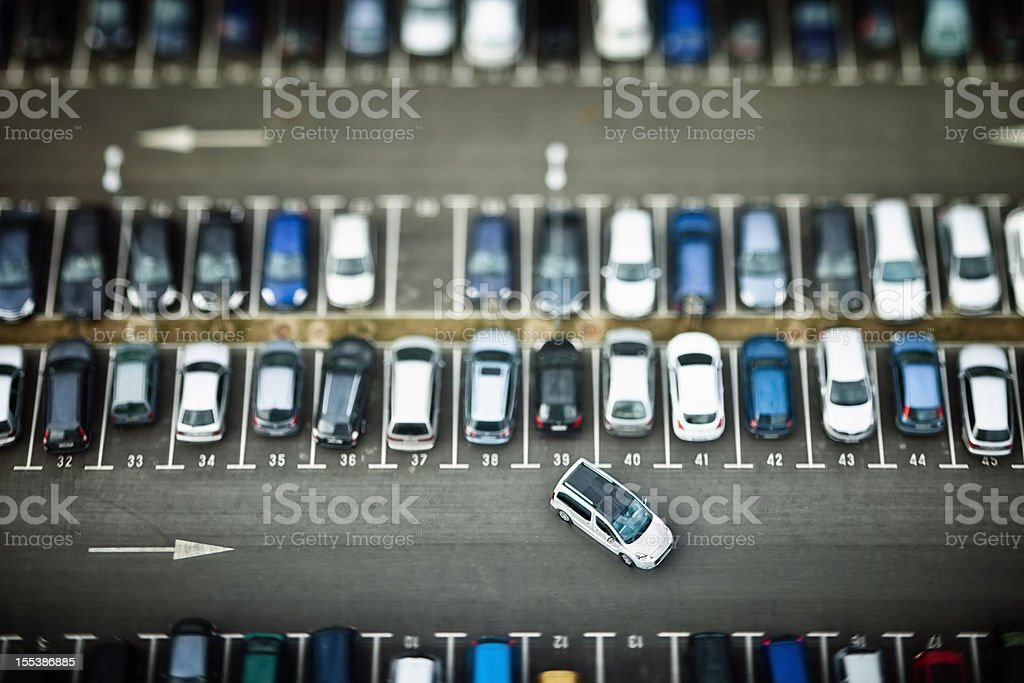 Cars on parking place from above stock photo