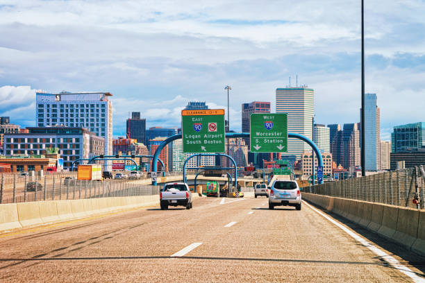 Cars on road at Boston skyline stock photo