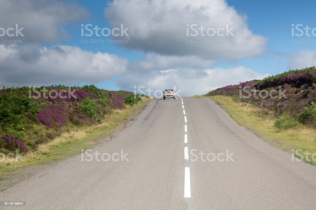 Cars on Road, North York Moors stock photo