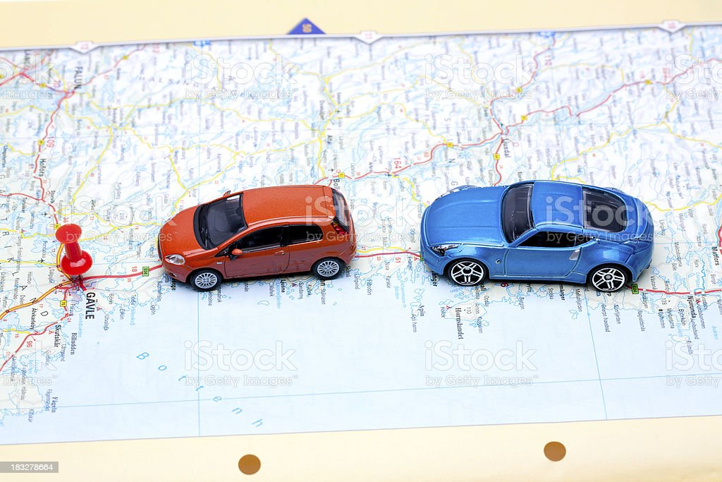 cars on the map royalty-free stock photo