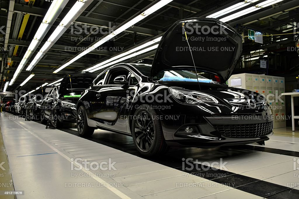 Cars on the production line stock photo