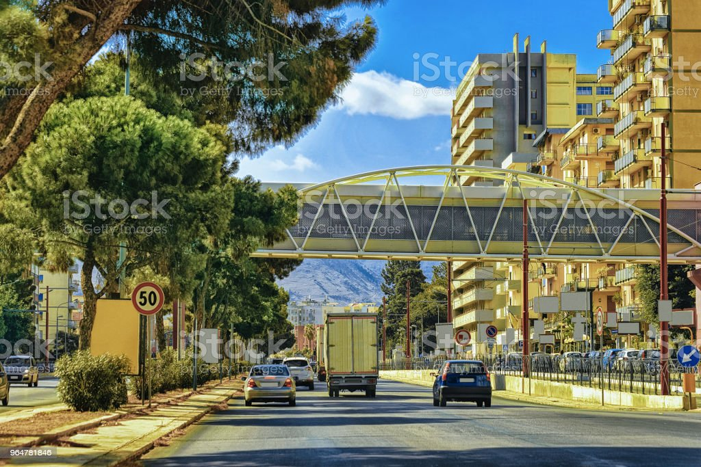 Cars on the road in Palermo Sicily Europe royalty-free stock photo