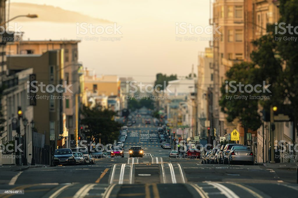 Cars on the Streets of San Francisco at Morning, California stock photo