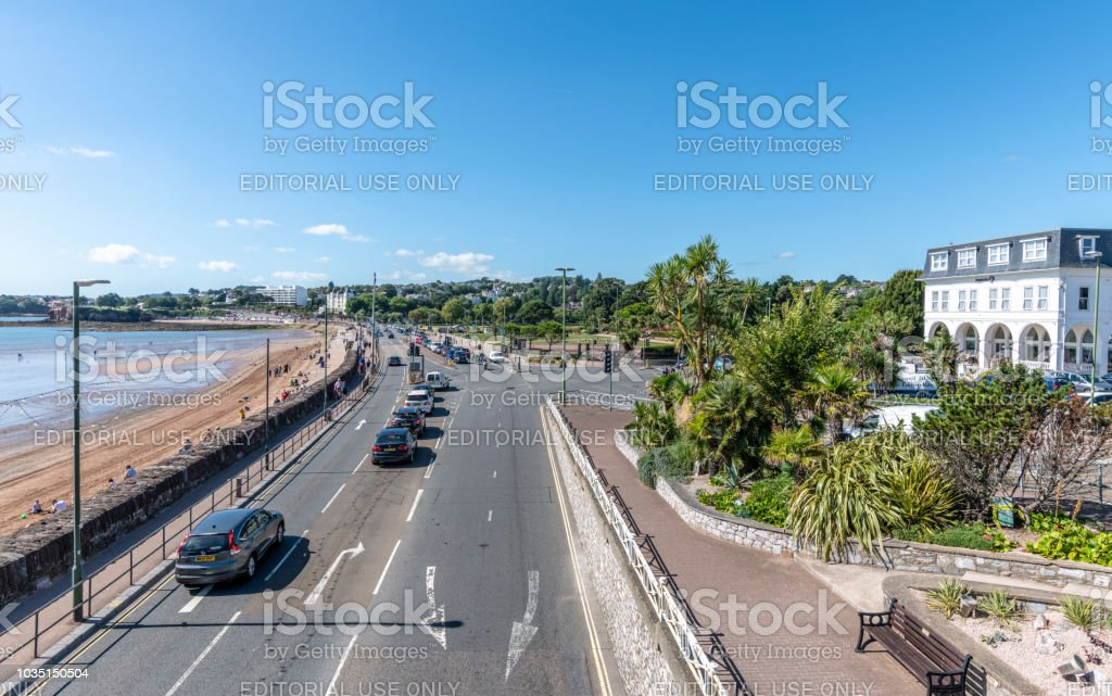 Cars on Torbay Road along the seafront in Torquay, Devon stock photo