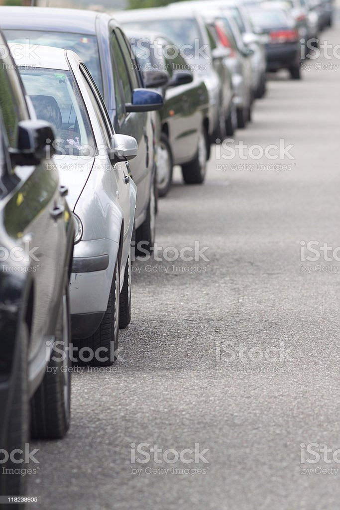 Cars Parked Along a City Street, Queue Image royalty-free stock photo