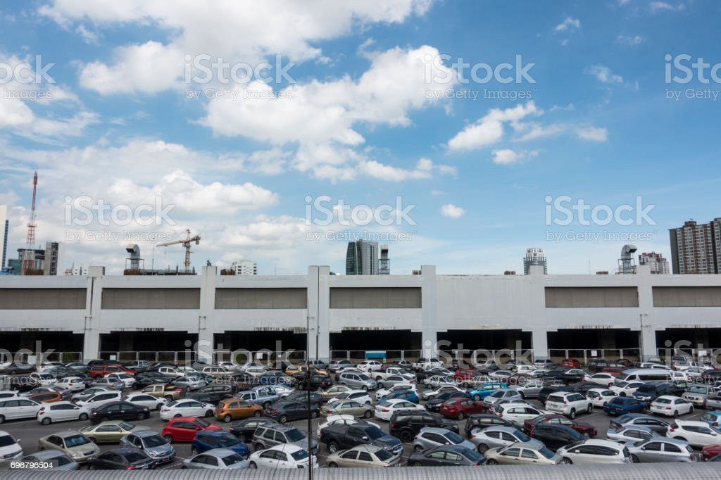 Cars parked at BTS station in Chatuchak district, Bangkok, Thailand. stock photo