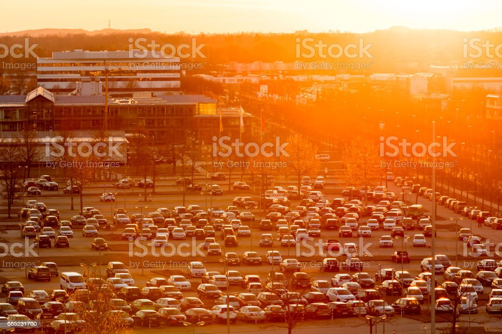 Cars Parked at Parking Lot, Elevated View, Airport Munich, Germany - foto de stock