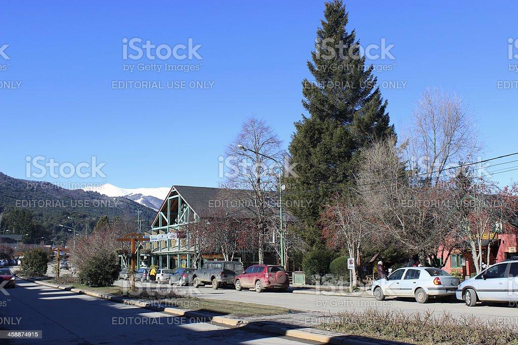 Cars parked at Villa La Angostura City - Argentina stock photo