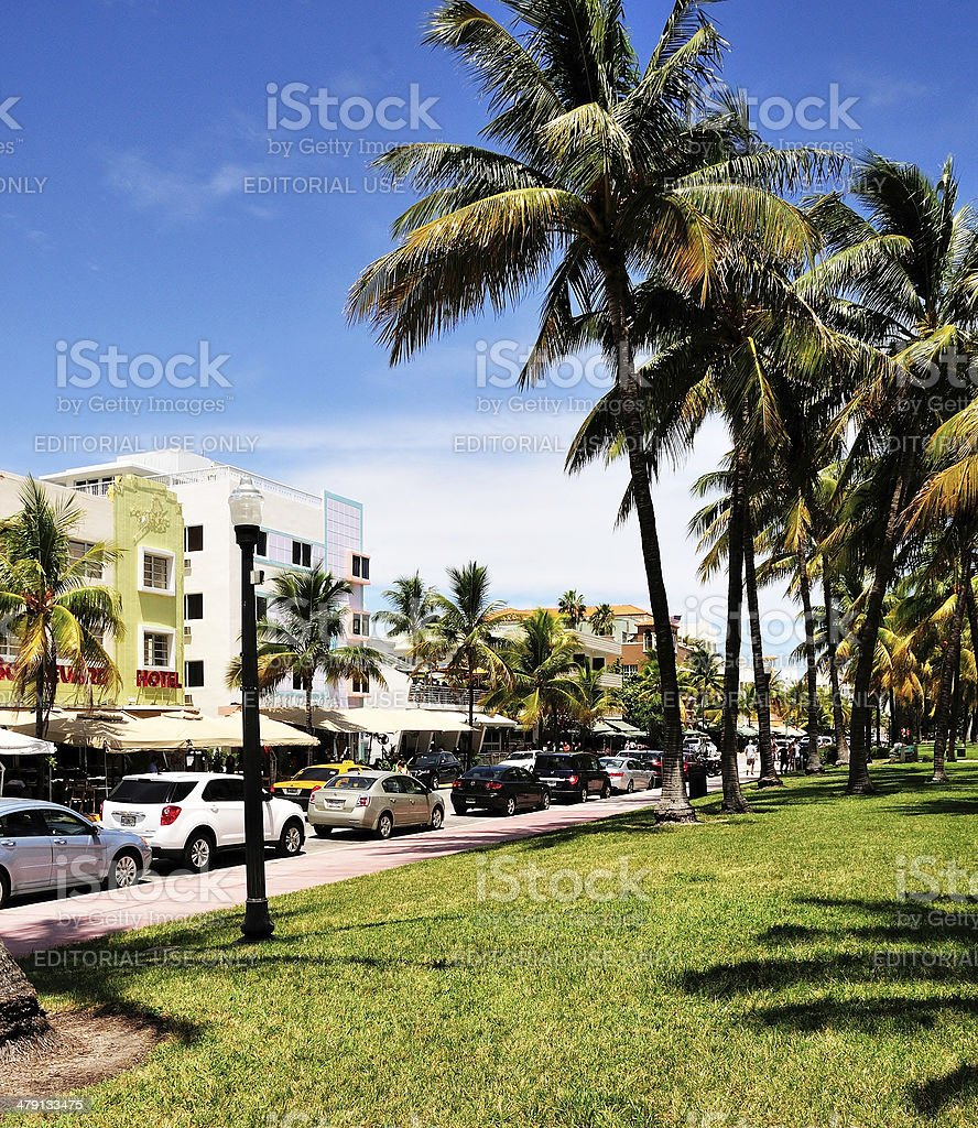 Cars Parked in Front of Hotels stock photo