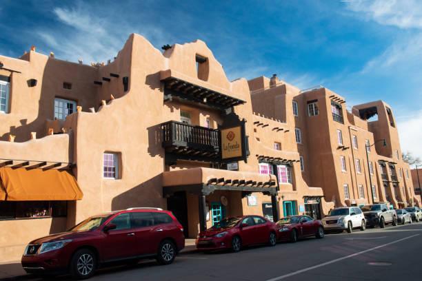 Cars parked in front of La Fonda Hotel in Santa Fe