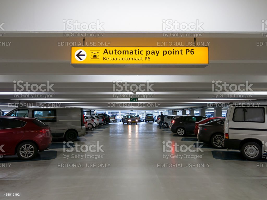 Cars parked in parking garage at international airport stock photo