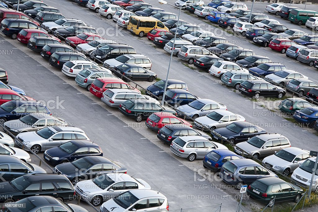 Cars parked in parking lot, elevated view, Airport Nuremberg, Germany stock photo