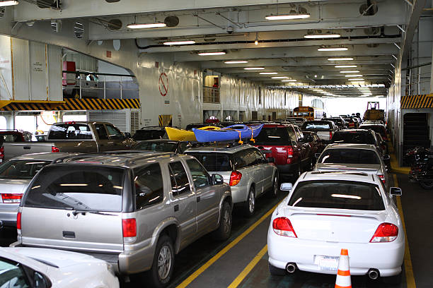 Cars parked on a ferry stock photo