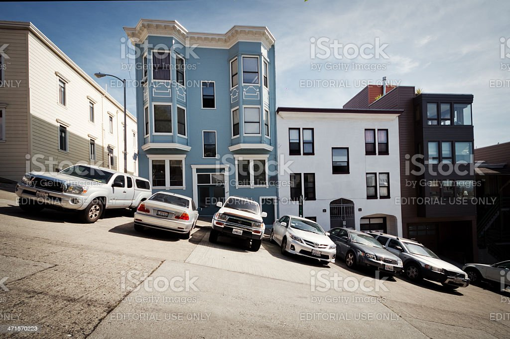 Cars Parked on Steep San Francisco stock photo