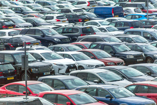 Cars parked packed in shortterm parking of edinburgh airport scotland england UK stock photo