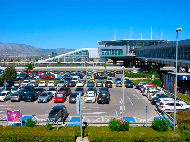 Cars parking, Athens airport stock photo