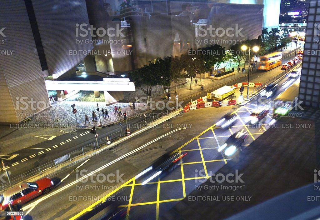 cars passing the Salisbury road by night ,Hong Kong stock photo