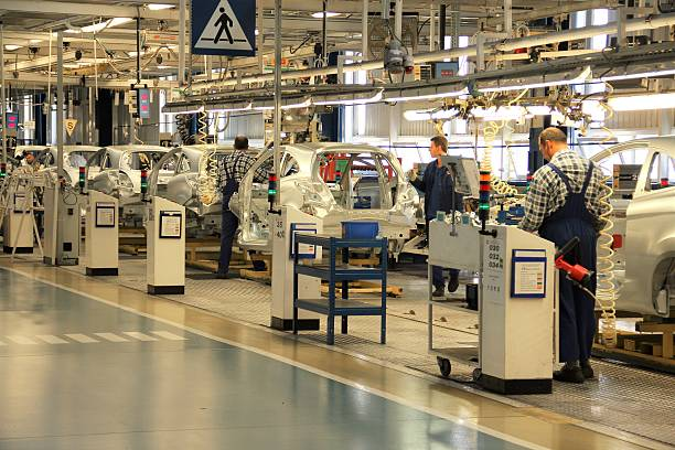 cars production line - production line stock photos and pictures