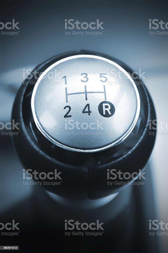 Car's shift lever. Five gears. Shiny chrome surface. Gearshift. royalty-free stock photo